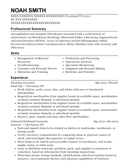 Stocking Associate resume example Tennessee