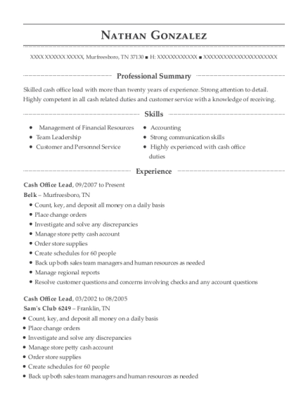 Cash Office Lead resume template Tennessee