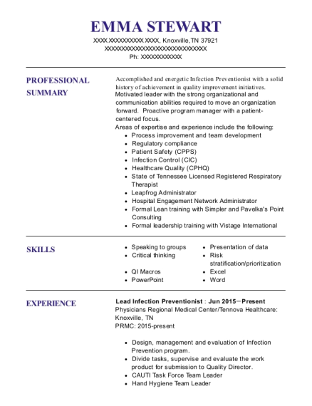 Lead Infection Preventionist resume format Tennessee