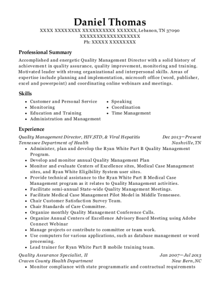 Quality Management Director resume sample Tennessee