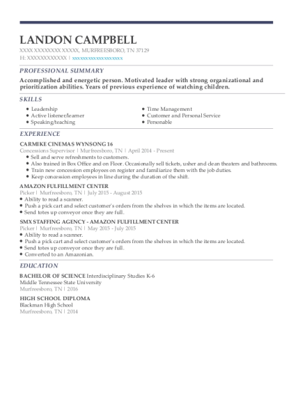 Concessions Supervisor resume template Tennessee