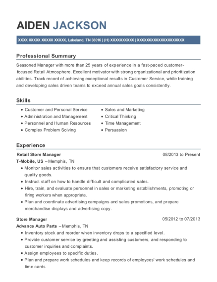 Retail Store Manager resume example Tennessee