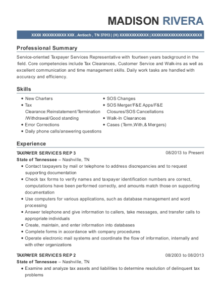 TAXPAYER SERVICES REP 3 resume format Tennessee
