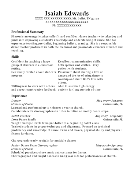 Cornerstone Academy For Performing Arts Ballet Teacher Resume Sample