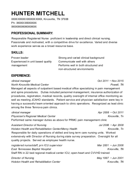 clinical manager resume sample Tennessee