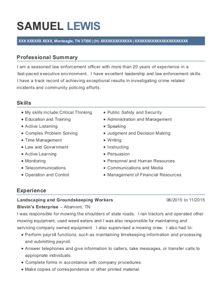 Landscaping and Groundskeeping Workers resume format Tennessee
