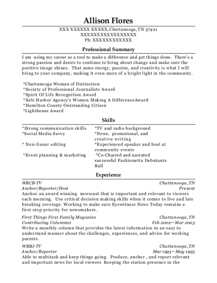Anchor resume template Tennessee