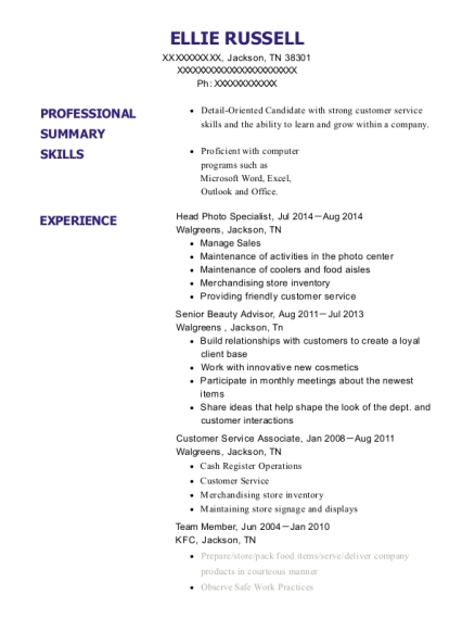 Head Photo Specialist resume example Tennessee