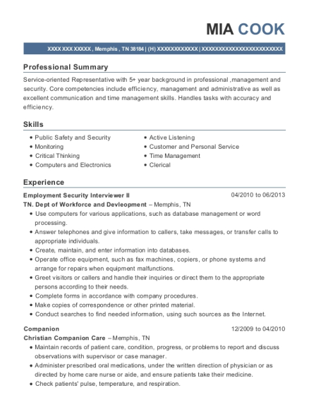 Employment Security Interviewer II resume example Tennessee