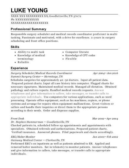 Surgery Scheduler resume format Tennessee