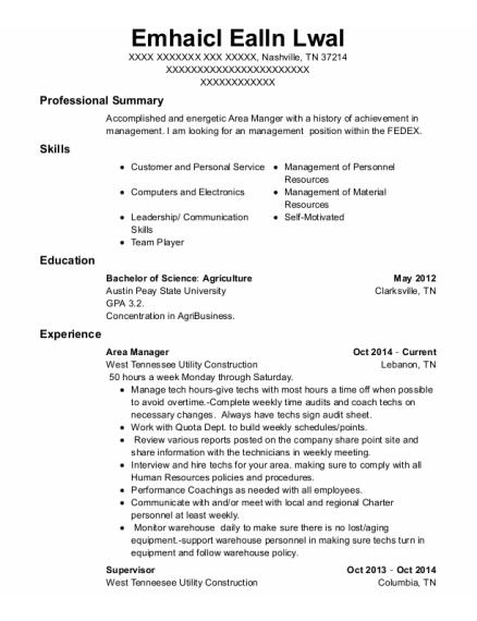 Area Manager resume sample Tennessee