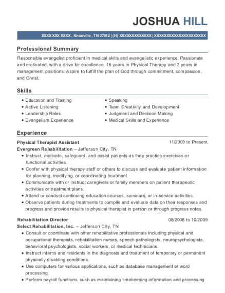 Physical Therapist Assistant resume template Tennessee