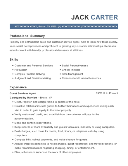 Guest Services Agent resume format Tennessee