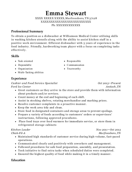 Cashier and Food Service Specialist resume format Tennessee