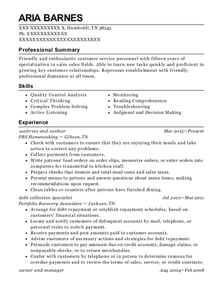 waitress and cashier resume template Tennessee