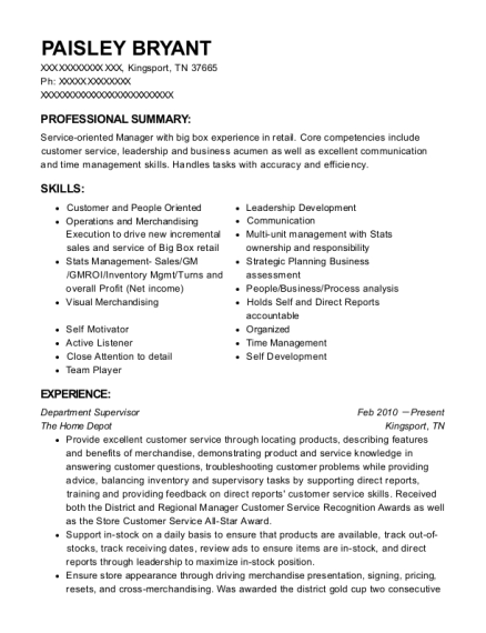 Department Supervisor resume example Tennessee
