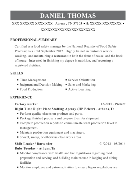 Factory worker resume template Tennessee