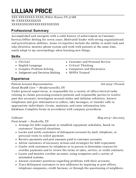 Patient Account Representative resume template Tennessee