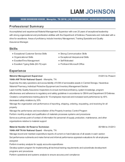 Material Management Supervisor resume template Tennessee