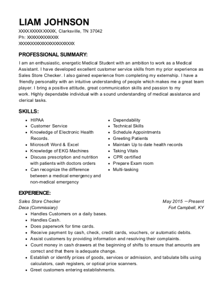 Sales Store Checker resume sample Tennessee