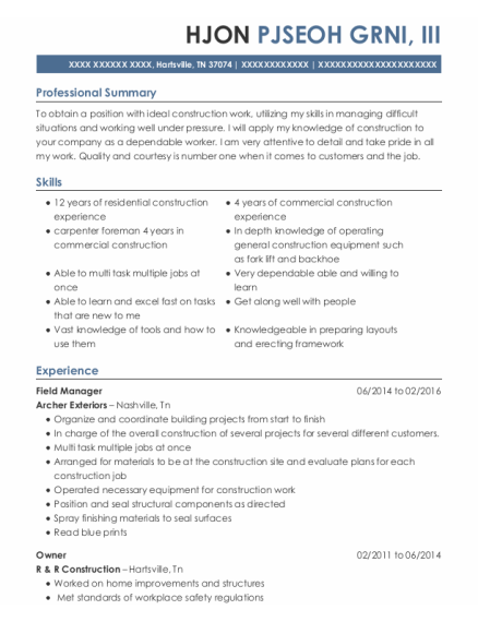 Field Manager resume format Tennessee