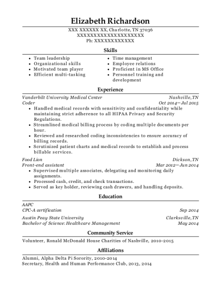 Coder resume example Tennessee