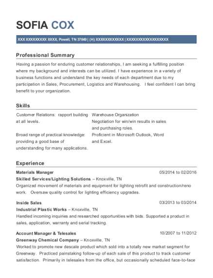 Materials Manager resume format Tennessee