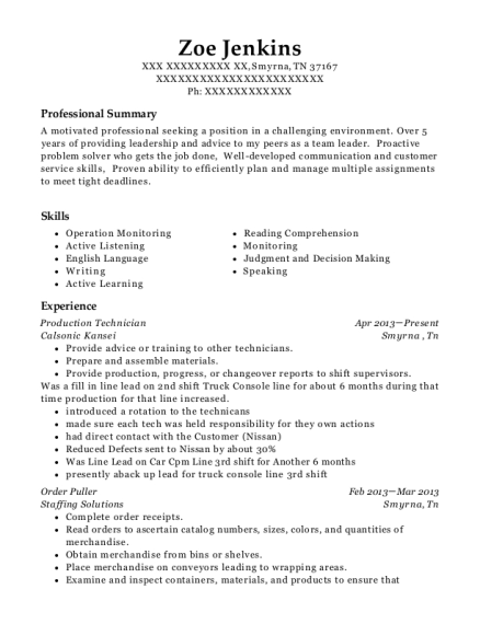 Production Technician resume example Tennessee