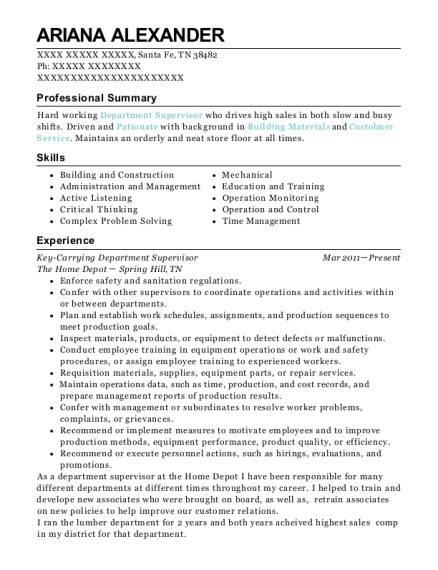 Key Carrying Department Supervisor resume format Tennessee