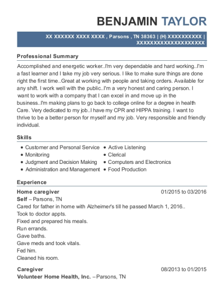 Home caregiver resume example Tennessee