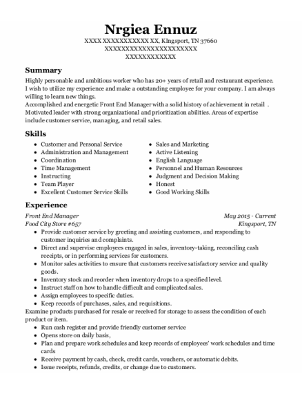 Front End Manager resume example Tennessee