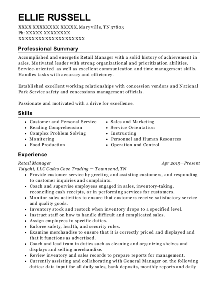 Retail Manager resume sample Tennessee
