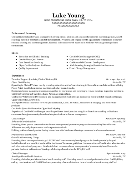 Technical Support Specialist resume template Tennessee