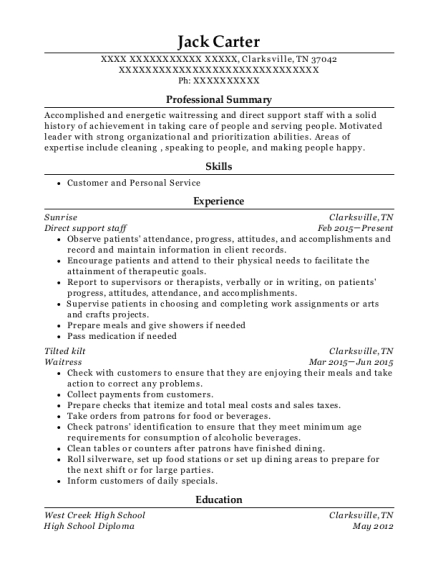 Direct support staff resume example Tennessee