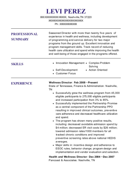Wellness Director resume template Tennessee