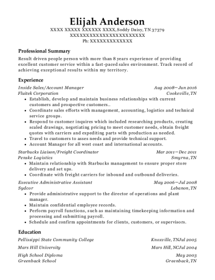 Inside Sales resume template Tennessee