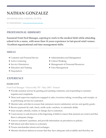 Front End Manager resume format Tennessee