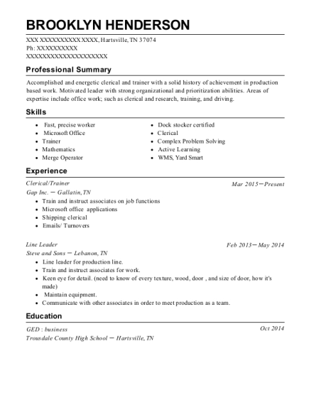 Clerical resume format Tennessee