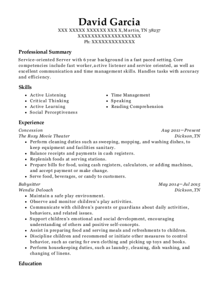 Concession resume example Tennessee