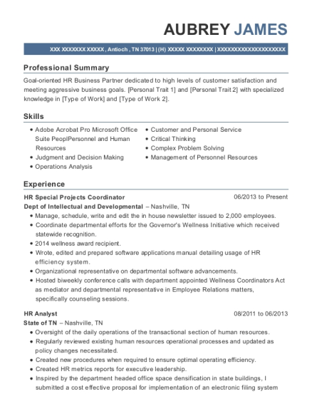 HR Special Projects Coordinator resume sample Tennessee