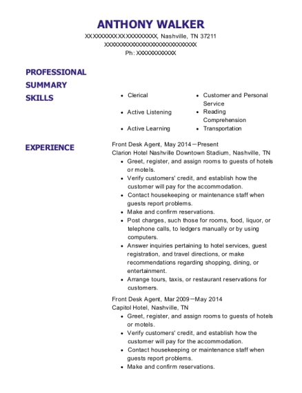 Front Desk Agent resume example Tennessee