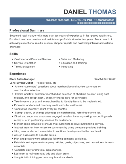 Store Sales Manager resume sample Tennessee