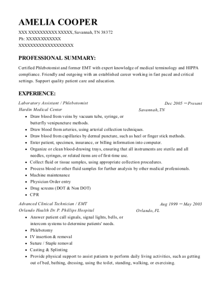 Laboratory Assistant resume example Tennessee