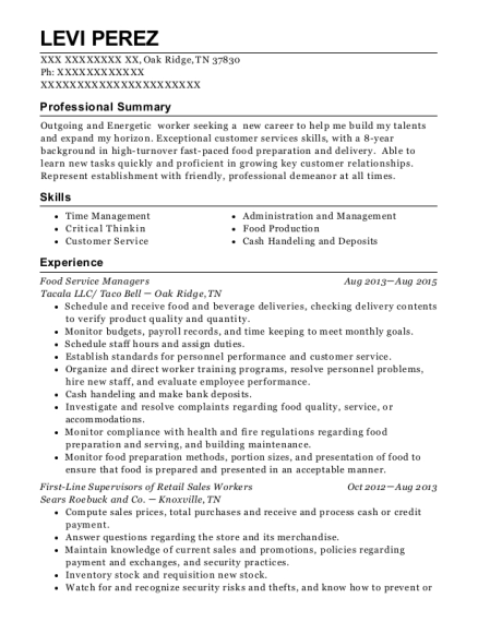 Food Service Managers resume template Tennessee
