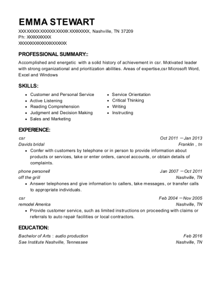 csr resume template Tennessee