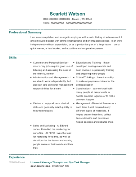 Licensed Massage Therapist and Spa Task Manager resume example Tennessee