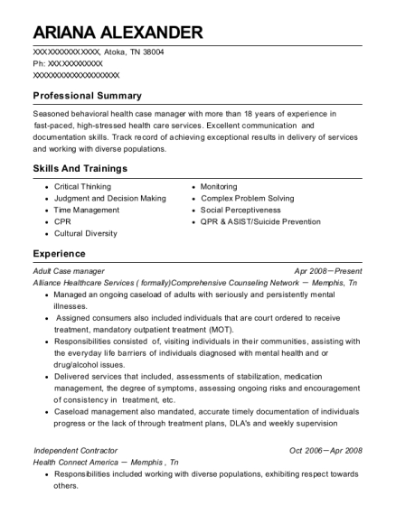 Adult Case manager resume sample Tennessee