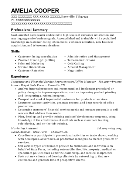 Insurance and Financial Service Representative resume sample Tennessee