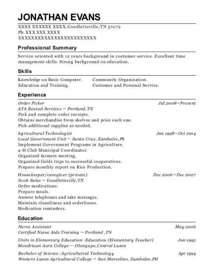 Order Picker resume example Tennessee