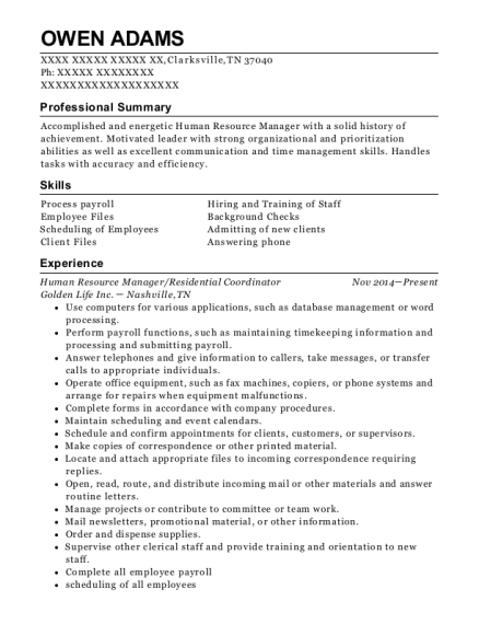 Human Resource Manager resume template Tennessee
